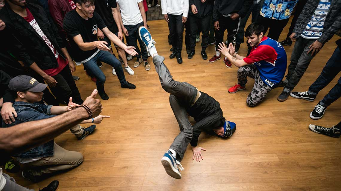 Bboy performing a floor move